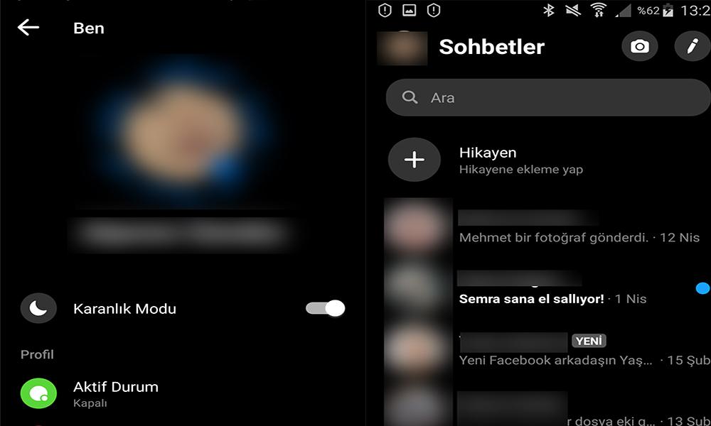 Facebook Messenger'a karanlık mod'da sohbet seçeneği geldi!